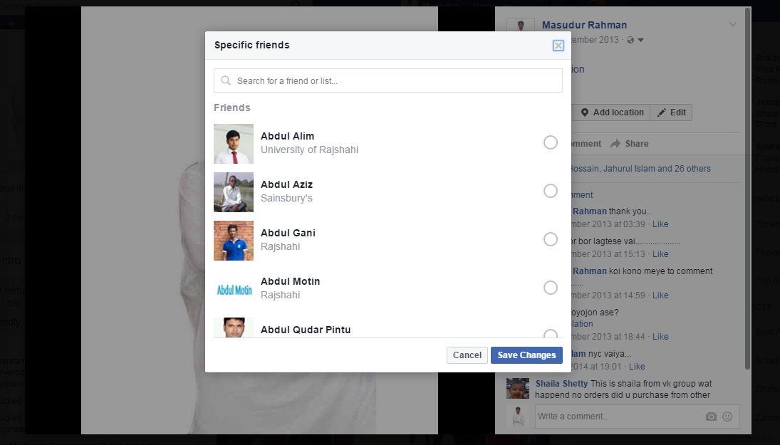 specific friends hide profile photo on facebook
