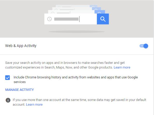 Turn off Google Activity Tracking