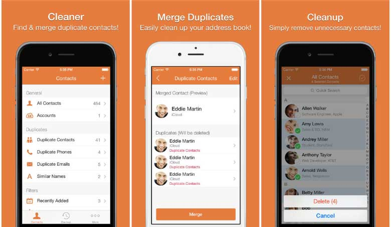 Apps to delete duplicate contacts in iOS