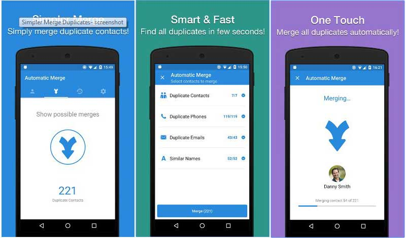 Simpler merge duplicate android app