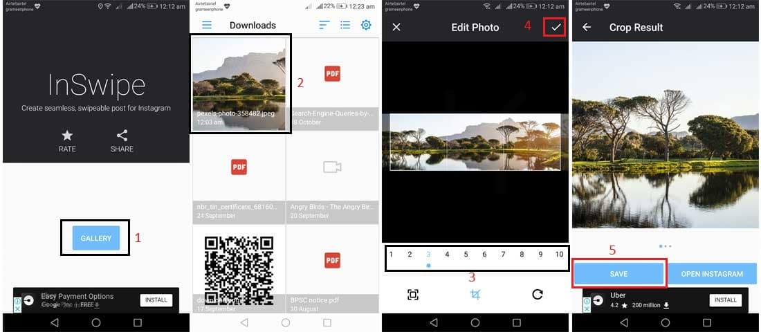 Prepare panoramic photo for Instagram