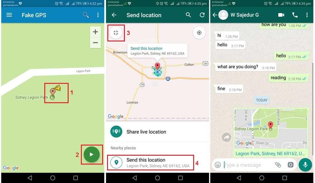 Send fake whatsapp location using app