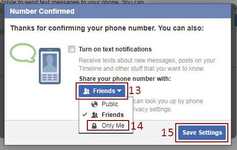 change visibility of facebook phone number