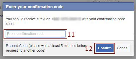 enter facebook confirmation code