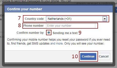 facebook add phone number