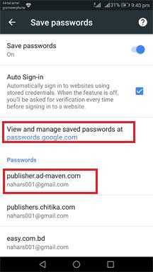 google chrome saved password list