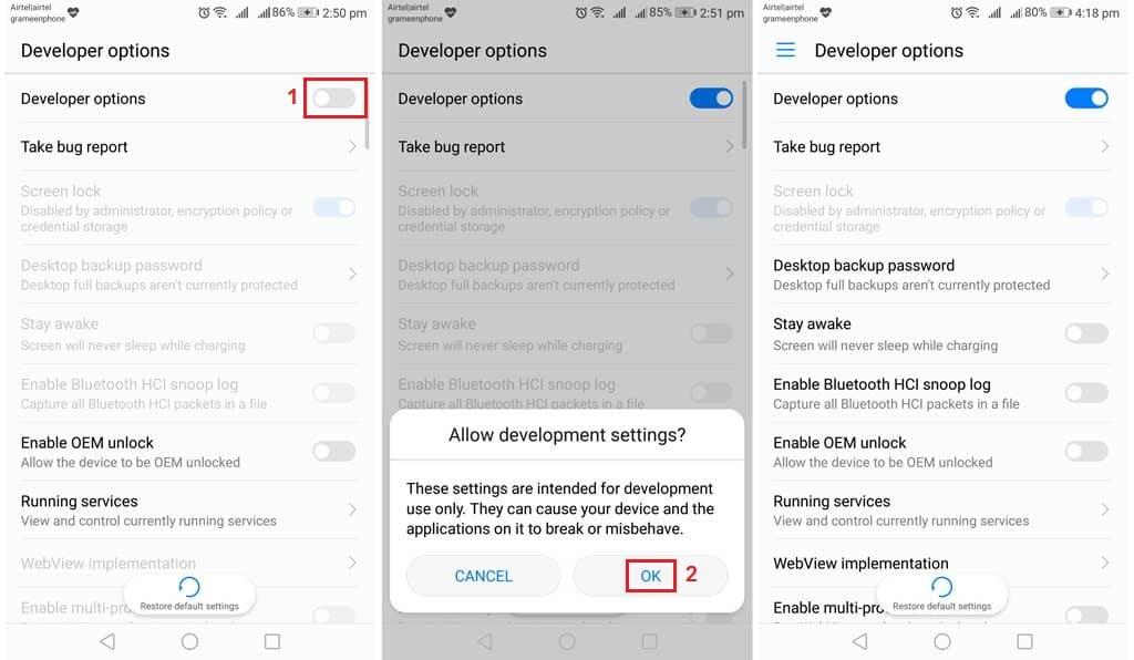 turn on android developer options