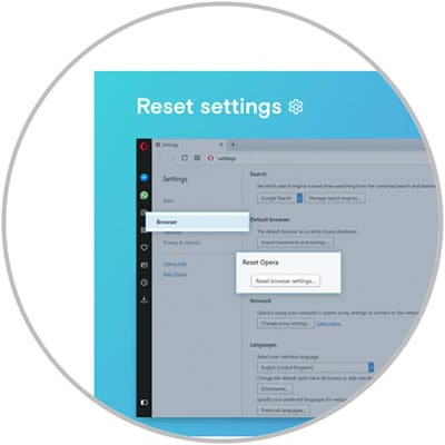 One click opera browser reset facility